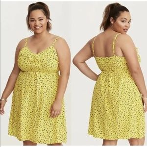 Torrid Yellow Floral Print Ruffle Challis Dress 0X
